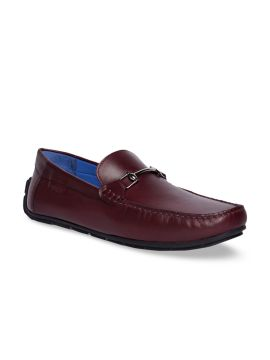 Burgundy Solid Leather Driving Shoes