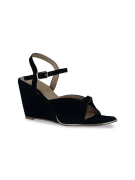 Black Solid Leather Wedges