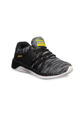 Black & White Textile Running Shoes