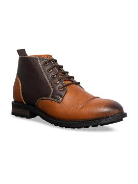 Brown Colourblocked Synthetic Mid-Top Flat Boots