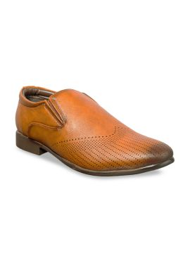 Tan Brown Perforations Loafers