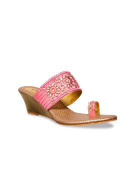 Pink & Gold-Coloured Embellished Wedges