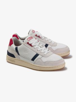 White & Red Colorblocked Leather Sneakers