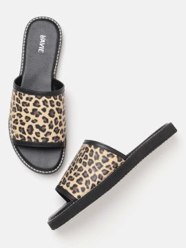 Brown & Beige Animal Printed Open Toe Flats