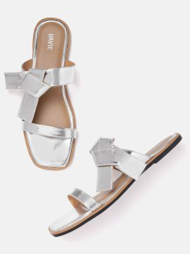 Silver-Toned Solid Open Toe Flats
