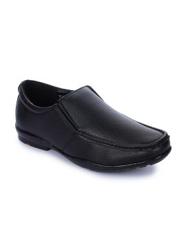 Black Solid Leather Formal Slip-On Shoes