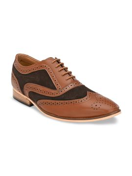 Tan Brown & Black Colourblocked Formal Leather Brogues