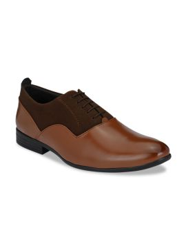 Tan Brown Colour-Blocked Formal Oxfords