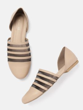 Cream-Coloured & Black Colourblocked Ballerinas