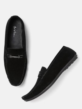 Black Solid Loafers