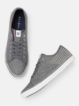 Grey Striped Sneakers