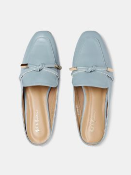 Blue Solid Synthetic Mules
