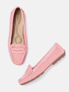 Pink Woven Design Driving Shoes
