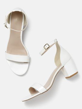 White Solid Block Heels