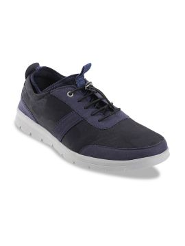 Navy Blue & Black Textured Colourblocked Sneakers