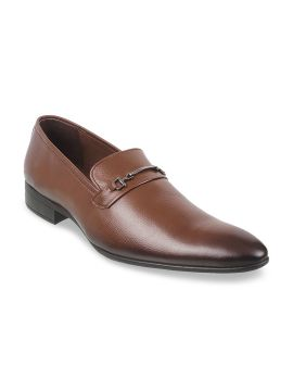 Brown Leather Formal Slip-Ons