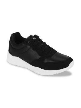 Black Synthetic Walking Shoes