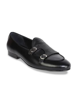 Black Slip-On Textured Leather Formal Loafers