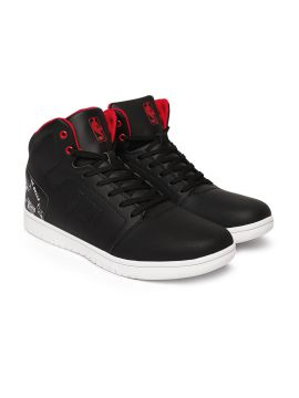 Black Solid Synthetic Mid-Top Chicago Bulls Sneakers