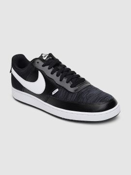 Black Solid COURT VISION Leather Sneakers