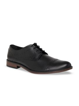 Black Solid Formal Leather Semi Brogues