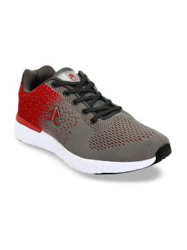 Grey & Red Mesh Running Shoes
