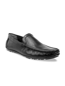 Black Solid Leather Formal Loafers