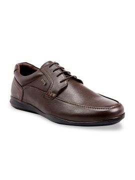 Brown Textured Formal Leather Derbys