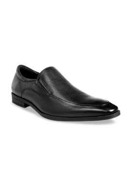 Brown Textured Formal Slip On Leather Shoes