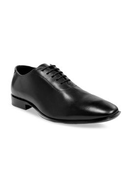 Black Solid Leather Handcrafted Sole Classy Italian Concept Formal Oxfords