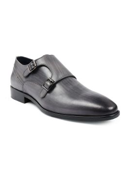 Grey Solid Leather Wooden Streak Handcrafted Sole Formal Monks