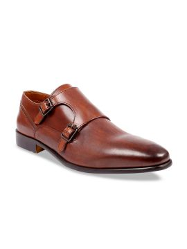 Tan Brown Solid Leather Handcrafted Formal Monks