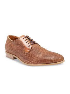 Tan Brown Solid Leather Handcrafted Sole Weavers Formal Derbys