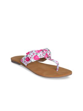 Pink Printed Open Toe Flats