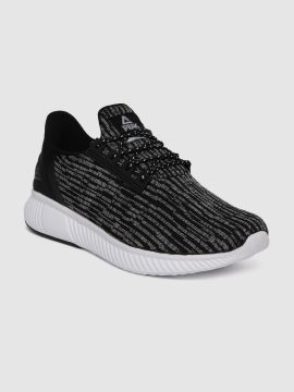 Black & Grey Woven Deisgn Running Shoes