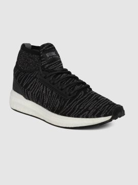 Black Woven Design Mid-Top Sneakers