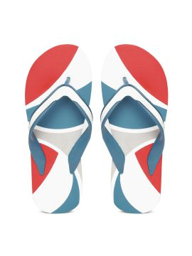 White & Blue Bounce Printed Two-Tone Flip-Flops