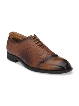 Tan Brown Textured Formal Oxfords