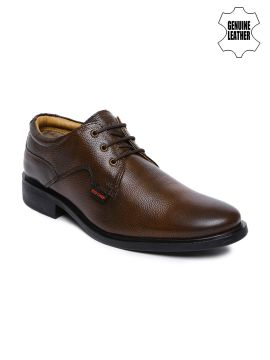 Brown Textured Genuine Leather Derby Shoes