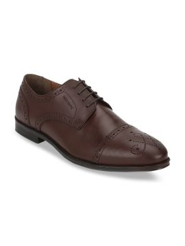 Brown Textured Genuine Leather Formal Brogues