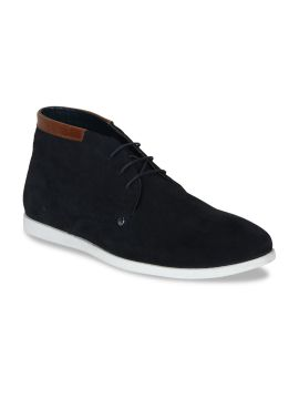 Navy Blue Solid Leather Mid-Top Derbys