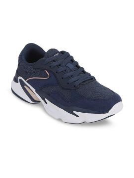 Navy Blue Textile Walking Sports Shoes