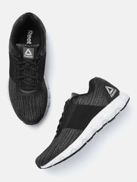Black & Charcoal Grey Woven Design City Space LP Running Shoes