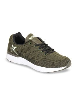 Olive Green Mesh Flyknit Running Shoes