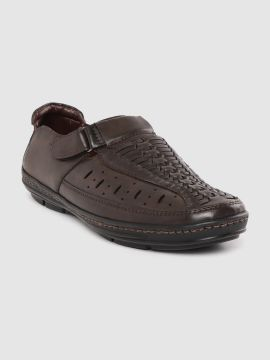 Coffee Brown Basketweave Textured Shoe-Style Sandals