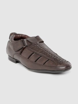 Coffee Brown Textured Shoe-Style Sandals