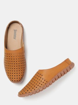 Tan Brown Shoe-Style Sandals with Laser Cuts