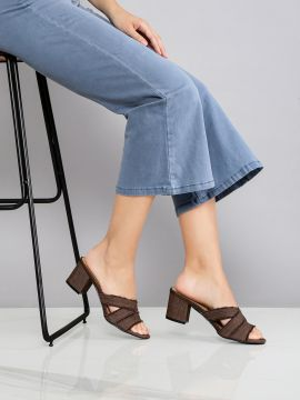 Brown Solid Heels with Fringes