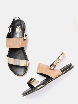 Gold-Toned & Peach-Coloured Colourblocked Open Toe Flats