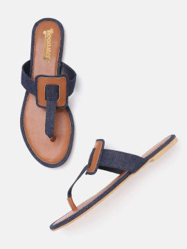 Navy Blue & Brown Colourblocked Denim T-Strap Flats